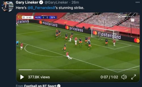 'Stunning': Gary Lineker sends message to Bruno Fernandes as Man United beat Istanbul Basaksehir