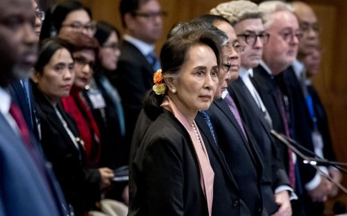 Aung San Suu Kyi arrives at UN court to defend Myanmar against charge of Rohingya genocide