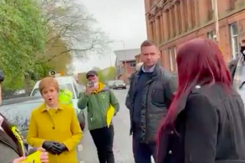 Nicola Sturgeon confronted by Jayda Fransen outside Glasgow polling station