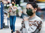 Katie Holmes masks up on Thanksgiving Day as she shows off her fall fashion sense