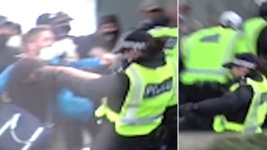 Far-right protester shoved police officer down stairs and tried to blame someone else