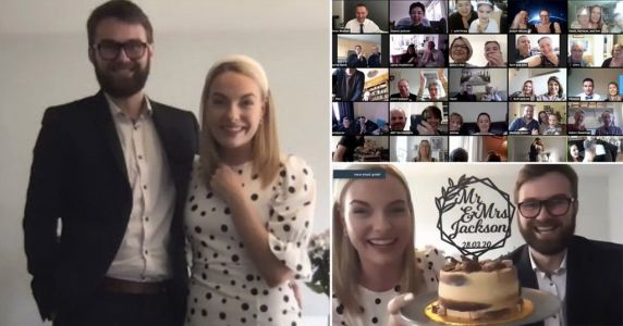 School sweethearts share their vows in front of 300 guests on Zoom after wedding is cancelled due to coronavirus