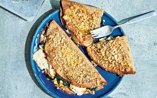 Crispy pancakes with smoked haddock and spinach recipe