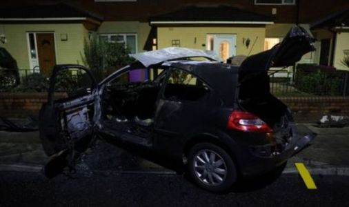 Horror as car smashes into front of house and bursts into flames - man arrested