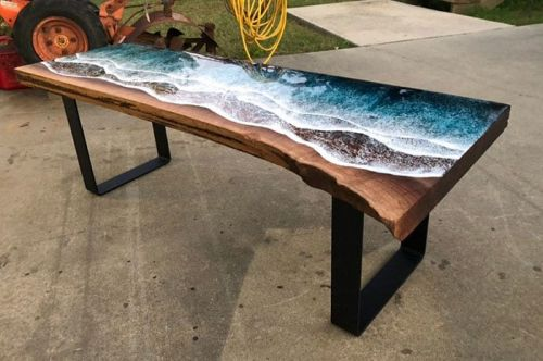Amazing Wood and Resin Ocean Coast Tables Look Unbelievably Realistic