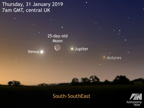 See a dawn triple conjunction and a lunar occultation on 31January