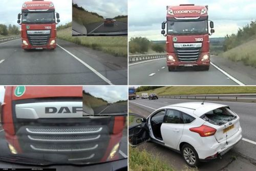 Driver's horror as lorry rear-ends his car while he's stuck in traffic