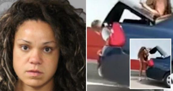 Moment mother shoves screaming son, 5, into car trunk and drives off