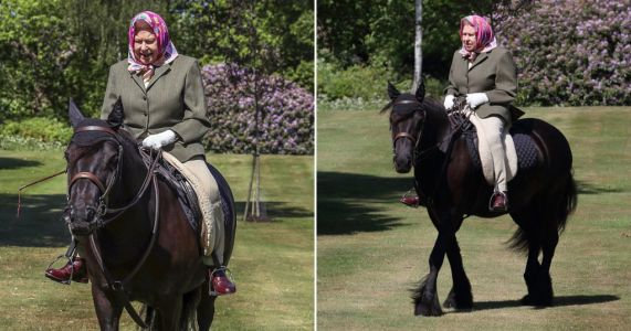 Queen rides pony at Windsor Castle in first public appearance since lockdown