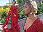 Laverne Cox takes the plunge in a ravishing red dress and 'Bridgerton hair' for Golden Globes