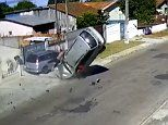 Shocking moment car thief is ejected from vehicle in Brazil