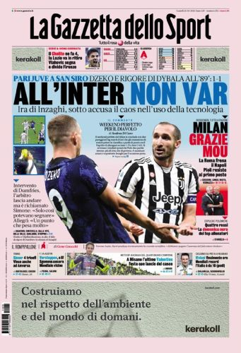 Today's Papers - Inter anger at VAR, Roma stall Napoli
