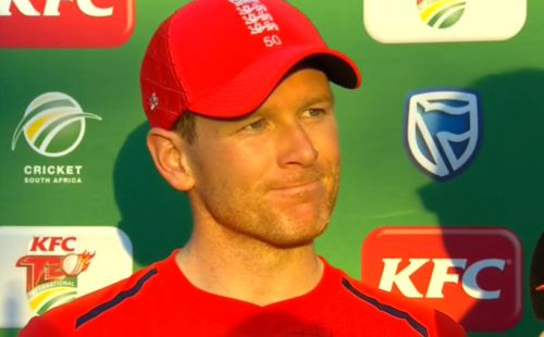 Eoin Morgan reacts to England's T20 series victory over South Africa