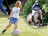 Mia Tindall, 5, shows off her impressive footballing skills at theWhatley Manor Horse Trials