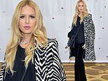 Rachel Zoe puts on stylish show with zebra coat and diamond necklace at Baby2Baby holiday party