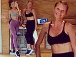 Gwyneth Paltrow and her daughter Apple, 16, work up a sweat at home workout