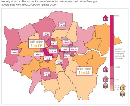 One in three homes in the London's financial district are sitting empty