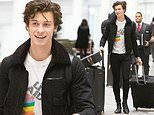 Shawn Mendes looks happy to be in native Canada as he wrangles luggage and guitar at Toronto airport