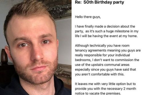Tenant claims landlord is evicting him to use flat for 50th birthday party