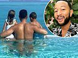 John Legend poses with kids Luna and Miles for Instagram snap on luxury tropical vacation