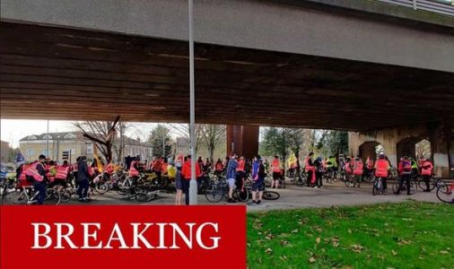Heathrow travel chaos: Extinction rebellion block A4 approach with mass bicycle convoy