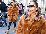 JLo dresses for fall in oversized plush coat as she steps out in NYC ahead of Global Citizen concert