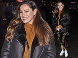 Kelly Brook nails casual chic in leather jacket and leopard print skirt as she departs Global Radio