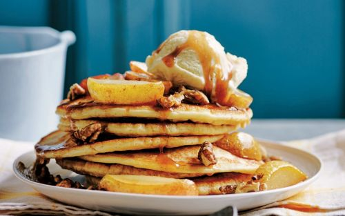 American pancakes with honey-roasted pear, walnut, and vanilla ice cream recipe