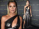 Khloe Kardashian stuns in a silver dress at the Abyss By Abby launch party in West Hollywood
