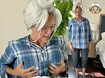 Jennifer Garner sports a grey wig and a stuffed backside as she dresses like old lady for Halloween