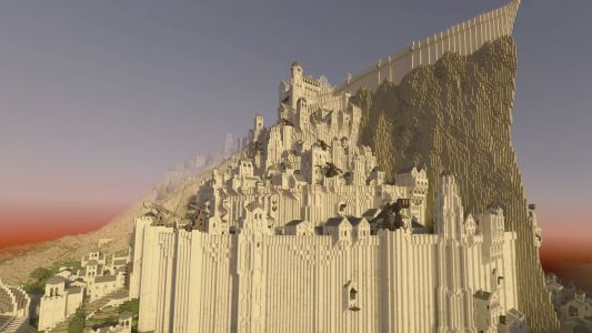Here is Minecraft's Minas Tirith in its full ray traced splendour