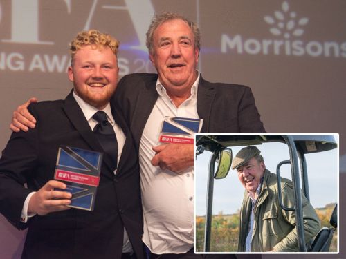 Jeremy Clarkson thanks Kaleb Cooper as pair receive highest honour at British Farming Awards: 'You are the star of Clarkson's Farm'