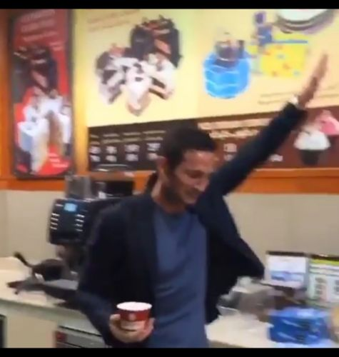 : Frank Lampard impressively catches a scoop of ice cream thrown at him