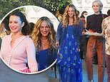 Sarah Jessica Parker joins Kristin Davis and Cynthia Nixon on set in NYC for SATC reboot
