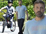Ben Affleck greets his bicycle-riding son Samuel outside his house amid COVID-19 self-isolation
