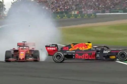 Sebastian Vettel smashes Ferrari into the back of Max Verstappen at British Grand Prix