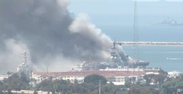 """Several"" US Navy sailors are being treated for injuries after ship catches fire at San Diego Naval Base"