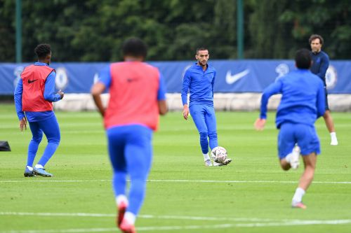 : Hakim Ziyech takes part in his first full Chelsea group training session