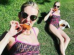 Emma Roberts chows down on fried chicken while showing off sizzling summer body in Fendi swimsuit