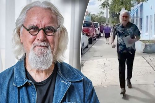 Billy Connolly looks a picture of health as he runs down a Florida street