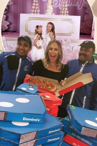 Kate Wright shows off images from step-daughter Tia's lavish pink-themed pizza birthday party