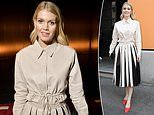 Lady Kitty Spencer dons a pleated midi skirt with a colour-coordinated shirt at Milan Fashion Week