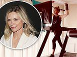 Michelle Pfeiffer celebrates getting her arm cast off by having a dance party while on the treadmill