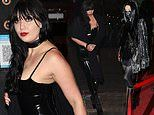 Daisy Lowe channels gothic glamour in a black PVC dress