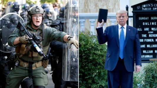 Priest and peaceful protesters tear-gassed so Donald Trump could walk to church for photos