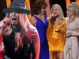 Carrie Underwood sings solo and teams with Dolly Parton and Reba McEntire at the CMA Awards