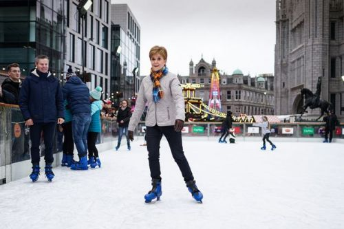 Nicola Sturgeon shows off her ice skating skills while campaigning in Aberdeen