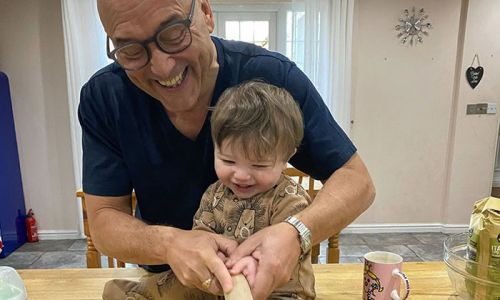 Gregg Wallace gets help in the kitchen from 11-month-old son Sid - see the adorable snap