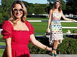 Sam Faiers catches the eye in a red lace midi-dress at Goodwood races