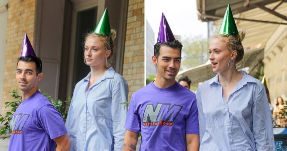 Sophie Turner and Joe Jonas are couple goals as they rock party hats to celebrate his 30th birthday